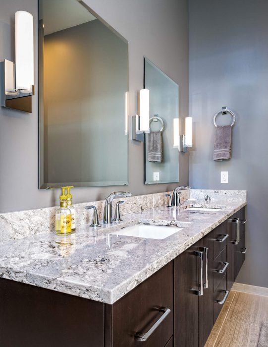 Dark Double Sink Vanity With Light Top