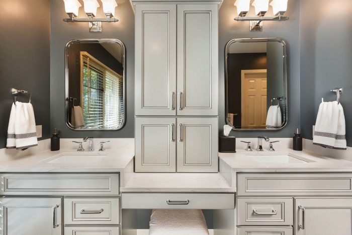 Double Sink with Cabinets And Mirrors