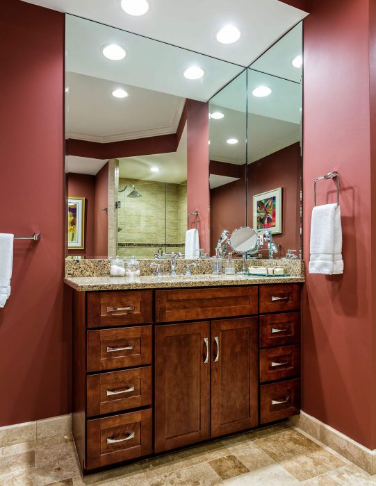 Red Bathroom With Wooden Granite Top Vanity Bathroom Remodel