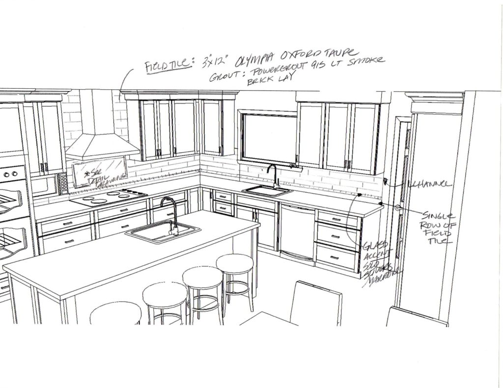 Kitchen Remodel Sketch of Design