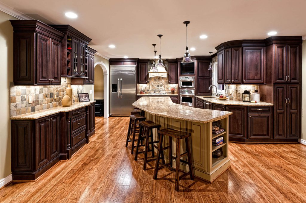 Kitchen Renovation Dark Cherry Wood Washington, MI
