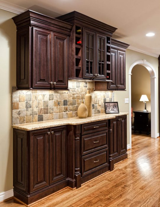 Dark Colored Hutch Kitchen Remodel