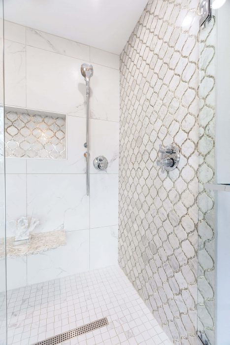 Patterned Tile Shower for Master Suite