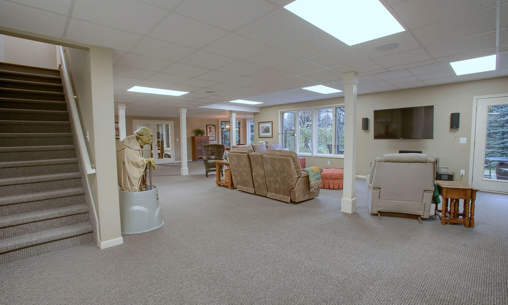 Open Carpeted Basement Remodel