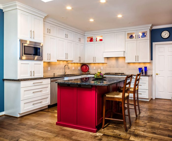 Kitchen Remodel With White Cabinets And Red Island