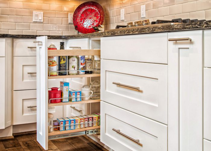 White Kitchen Cabinet Spice Rack Remodel