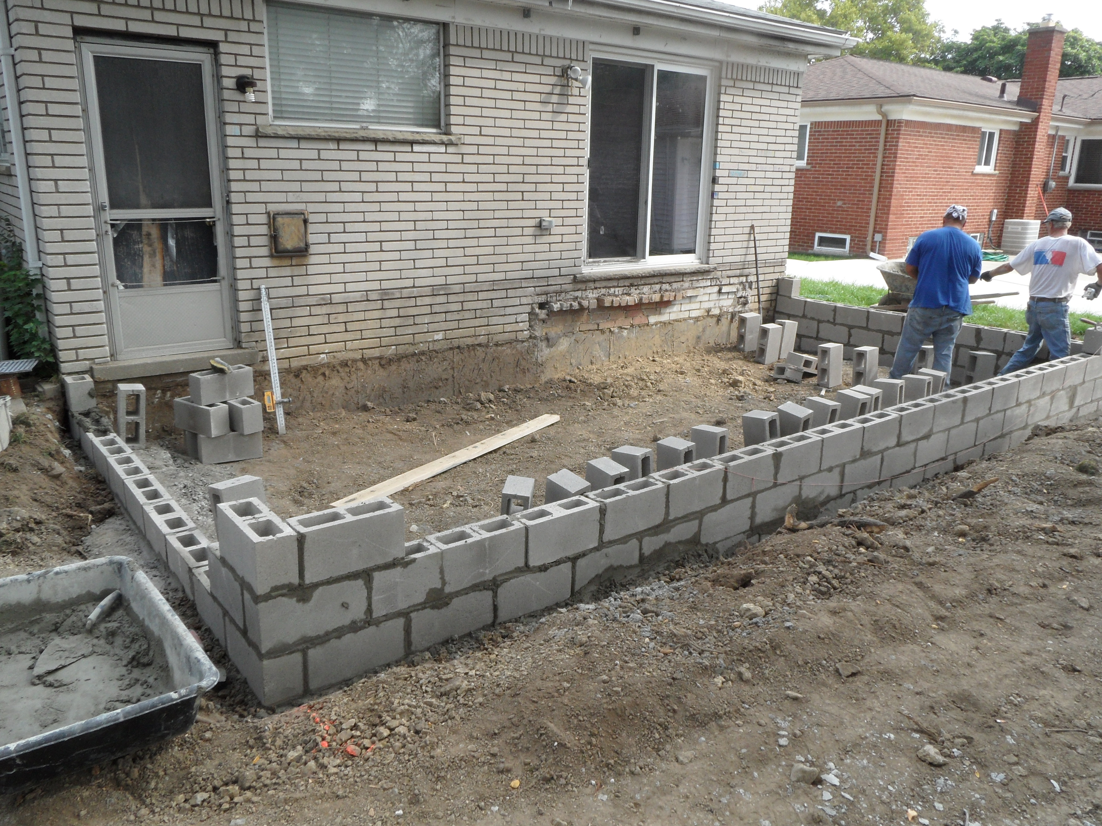 Masonry work for New Addition Foundation