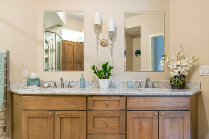Shelby Township Bath Remodel with Double Vanity Mirrors